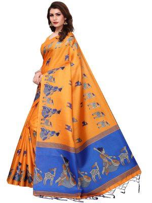 Maithali Orange Khadi Silk Printed Kalamkaari Sarees With Blouse