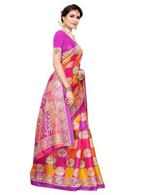 Radha Checks Violet Khadi Silk Printed Kalamkaari Sarees With Blouse