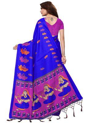 Shabri Blue Khadi Silk Printed Kalamkaari Sarees With Blouse