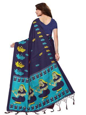 Shabri Navy Khadi Silk Printed Kalamkaari Sarees With Blouse