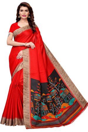 Siddhi Red Khadi Silk Printed Kalamkaari Sarees With Blouse