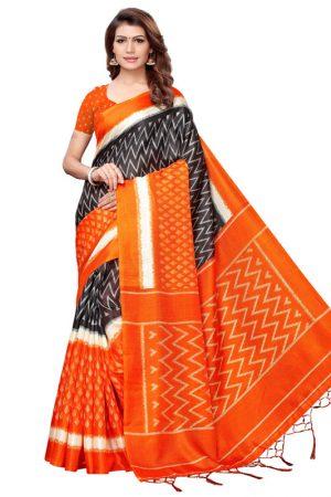 Snap Orange Khadi Silk Printed Kalamkaari Sarees With Blouse