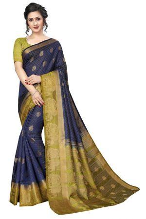 Haathi Butta Navy Green Tussar Silk Weaving Kanjivaram Sarees With Blouse