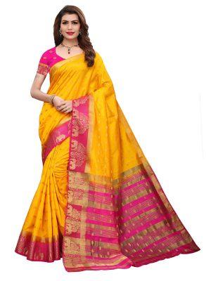 Tree Elephant Yellow Pink Tussar Silk Weaving Kanjivaram Sarees With Blouse