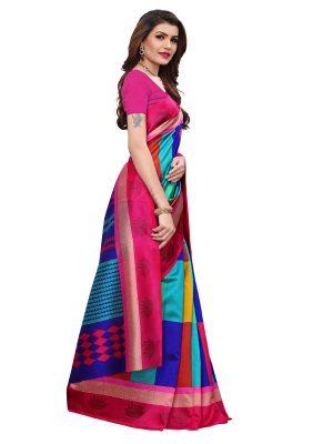 Avni Pink Printed Mysore Art Silk Kanjivaram Sarees With Blouse
