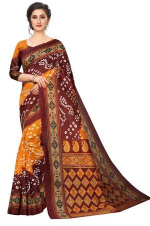 Bandhani 30 Printed Mysore Art Silk Kanjivaram Sarees With Blouse