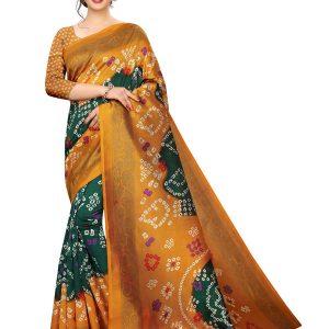 Bandhani 34 Printed Mysore Art Silk Kanjivaram Sarees With Blouse