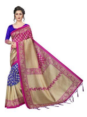 Hiphop Pink Blue Printed Mysore Art Silk Kanjivaram Sarees With Blouse