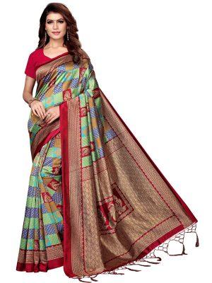 Mor Gulab Maroon Printed Mysore Art Silk Kanjivaram Sarees With Blouse
