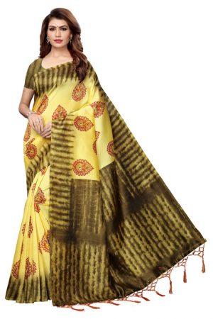 Nagma Pan Lemon Printed Mysore Art Silk Kanjivaram Sarees With Blouse