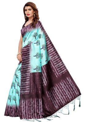 Nagma Tree Rama Printed Mysore Art Silk Kanjivaram Sarees With Blouse