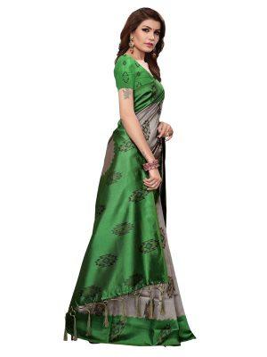 Shilpa Green Printed Mysore Art Silk Kanjivaram Sarees With Blouse