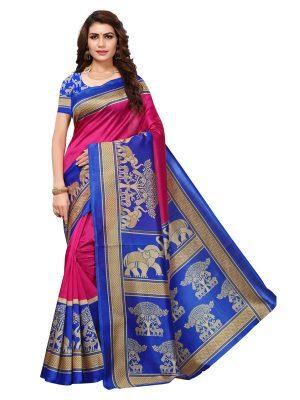 Vinayaka Pink Printed Mysore Art Silk Kanjivaram Sarees With Blouse