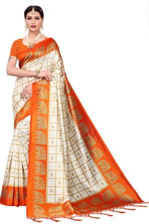 Wedding Fenta Printed Mysore Art Silk Kanjivaram Sarees With Blouse