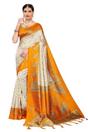 Wedding Umbrella Yellow Printed Mysore Art Silk Kanjivaram Sarees With Blouse