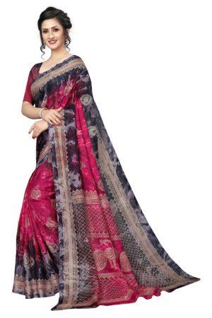 Prism Keri Pink Printed Jute Silk Saree With Blouse