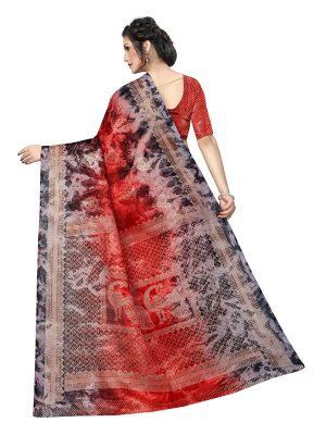 Prism Keri Red Printed Jute Silk Saree With Blouse