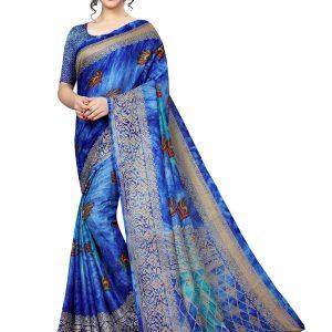 Prism Mor Blue Printed Jute Silk Saree With Blouse