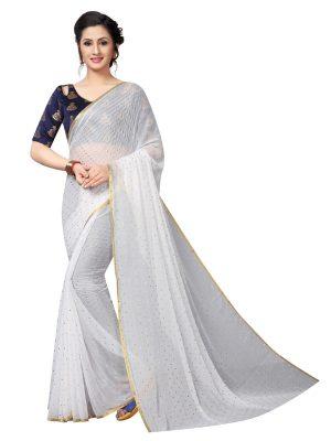 Bundi White Shiffon Saree With Blouse