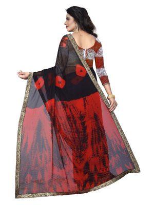 Jaquard Red Shiffon Saree With Blouse