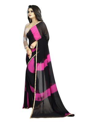 Lehariya Black Pink Shiffon Saree With Blouse