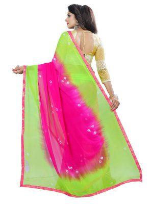 Pink Green Bandhani Shiffon Saree With Blouse