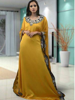 Evening Golden Yellow Color Kaftan