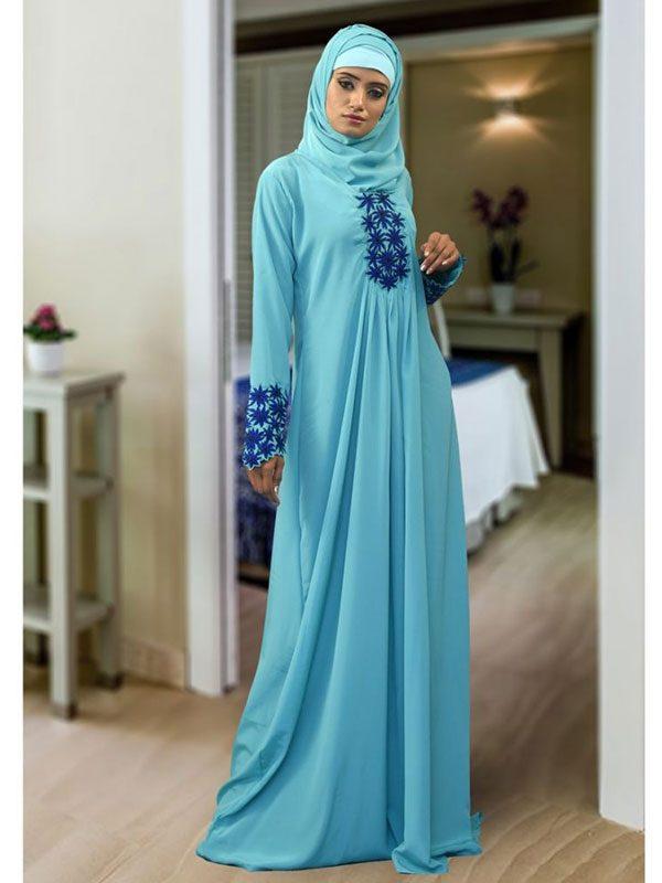 Abaya Maxi Light Blue Color Kaftan