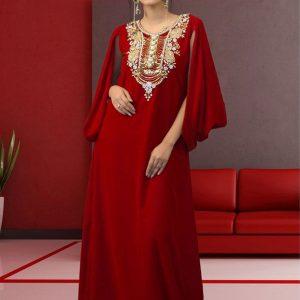 Muslim Formal Evening Maroon Color Abaya