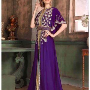 Purple And Blue Color Georgette Kaftan