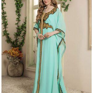 Women Green Color Free Size Kaftan