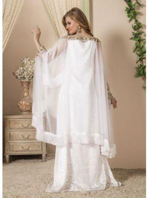Women White Color Maxi Dress Kaftan
