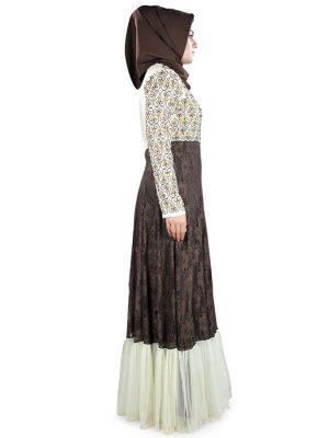 Womens Abaya Brown Color Fancy