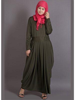 Womens Abaya Green Color Casual Wear
