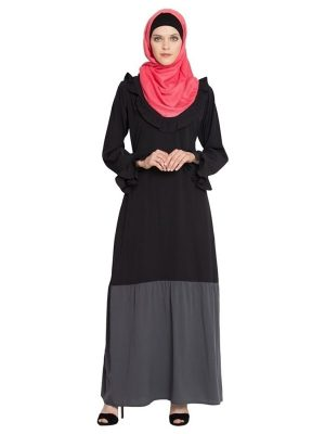 Womens Abaya Black & Grey Color Casual Wear