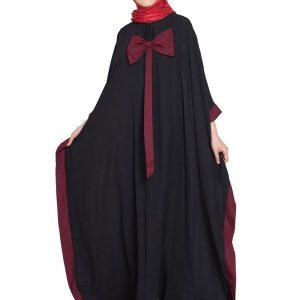 Womens Abaya Black & Maroon Color Casual Wear