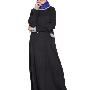 Womens Abaya Black & Grey Color Attractive