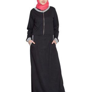 Womens Abaya Black & Grey Color Casual Wear