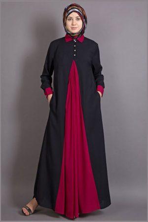 Womens Abaya Black & Maroon Color Graceful
