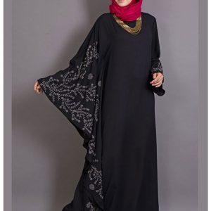 Womens Abaya Black & Grey Color Embroidery Wear