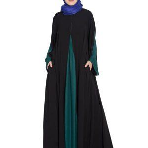 Womens Abaya Black & Green Color Casual Wear