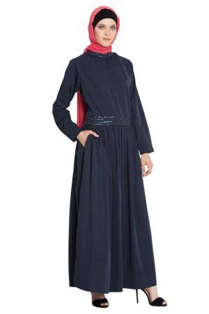 Womens Abaya Blue Color Evening Dress