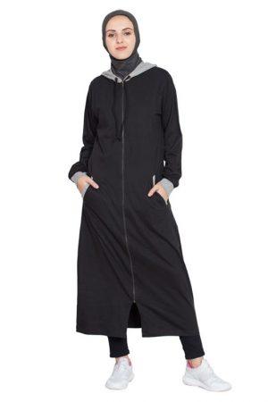 Womens Abaya Black & Grey Color Evening Dress