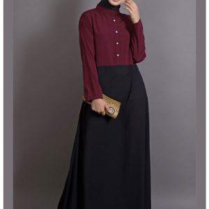 Womens Abaya Maroon & Black Color Casual Wear