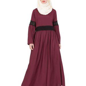 Womens Abaya Maroon Color Graceful
