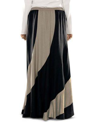 Black And Brwon Color Skirt-Rayon Skirt