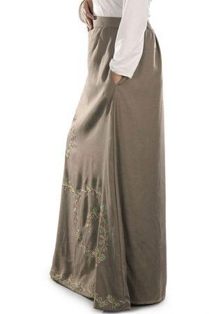 Brown Color Skirt-Rayon Skirt
