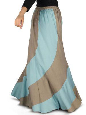 Brown And Blue Color Skirt-Rayon Skirt