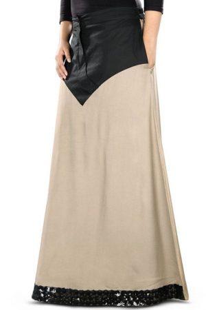 Brown And Black Color Skirt-Rayon Skirt