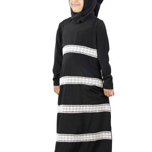 Black Color Kid'S-Crepe Kid'S Abaya